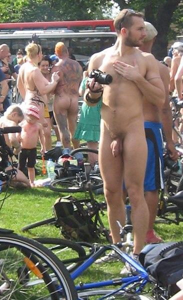 male naked on bike